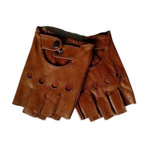 Image 1 - قفازات رجالي من الجلد الطبيعي سوداء عالية الجودة مقاومة للانزلاق قفازات Luvas نصف أصبع من جلد الغنم بدون أصابع قفازات gants moto L01
