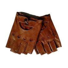 Chất Lượng cao Đen Nam Da Thật Chính Hãng Da Găng Tay chống Trơn Trượt Luvas Ngón Da Cừu Fingerless Gloves gants Moto L01