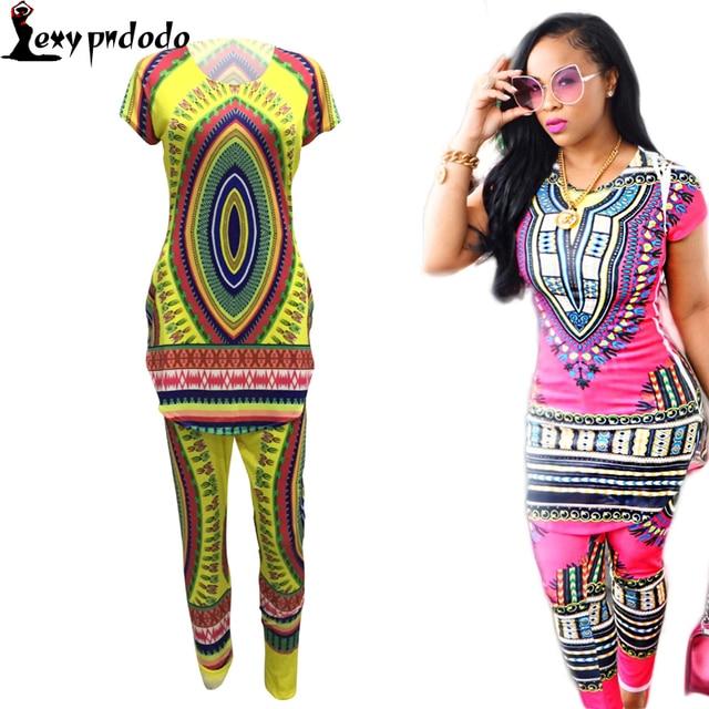 9442aeb3c317 Mujeres 2 Unidades Pantalones Conjuntos de Ropa de Dos Piezas de la Mujer  Africana Tradicional Africano Dashiki Imprimir Bodycon tops + Pants Ropa en  ...