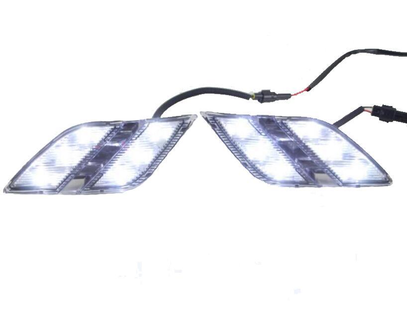 Car styling LED DRL Daytime Running Ligh front fog bumper lamp For Peugeot 301 2014 2015 2PCS led front fog lights for opel astra g saloon f69  1998 09 2009 car styling round bumper drl daytime running driving fog lamps