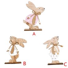 Cute Wooden Rabbit Shapes Easter Decorations home Ornaments Craft Gifts room decoration Children gift Home decor