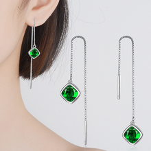 Everoyal Charm Crystal Green Square Female Long Tassel Earrings Jewelry Fashion 925 Silver Ear Line For Women Drop Accessories