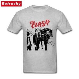 Image 4 - Büyük boy Bant Beyaz clash Gömlek Mens Benzersiz Kısa Kollu Pamuk Erkekler T Shirt Toptan Vintage Tarzı Merch Giyim
