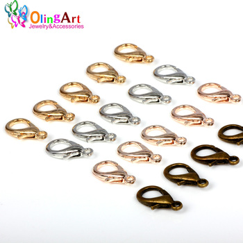 OlingArt 14mm 36pcs/lot Alloy Lobster Clasps Hooks 4 color mixing Bronze/Gold-color/Silver-color for diy Jewelry making Findings