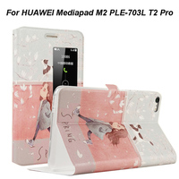 Cartoon Patten PU Leather Silicone Cover Case For Huawei Mediapad M2 PLE 703L M2 Yougth T2