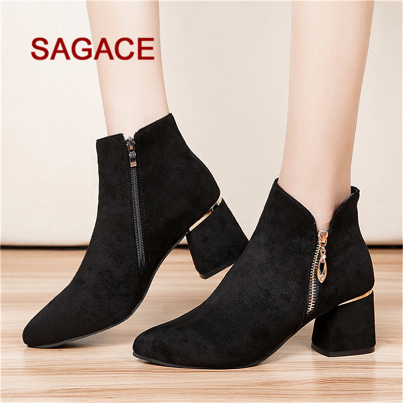 fd279c3a938 HB@SAGACE Women High Heel Shoes Suede Solid Color Martain Boots Pointed Toe  Zipper Shoes dropship-in Mid-Calf Boots from Shoes on Aliexpress.com    Alibaba ...