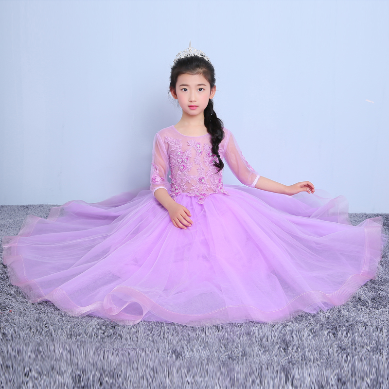 luxury princess dress floor-length girls pageant dress for wedding party hollow-out ball gown appliques flower girl dresses цены онлайн