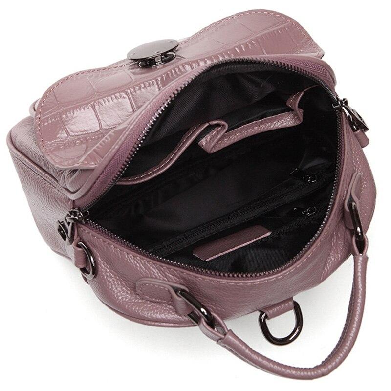 Zency 100% véritable cuir de vache femmes sac à dos en pierre modèle de fille cartables mode femme solide voyage sacs charme rose sac à dos-in Sacs à dos from Baggages et sacs    3