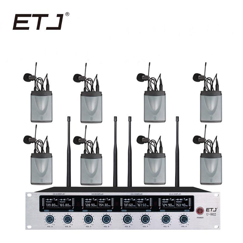 ETJ Marca 8 Changable Auricolare Microfono Senza Fili Trasmettitore 8 Bodypack Lavalier Microfono 4 Trasmettitore a Mano U-802