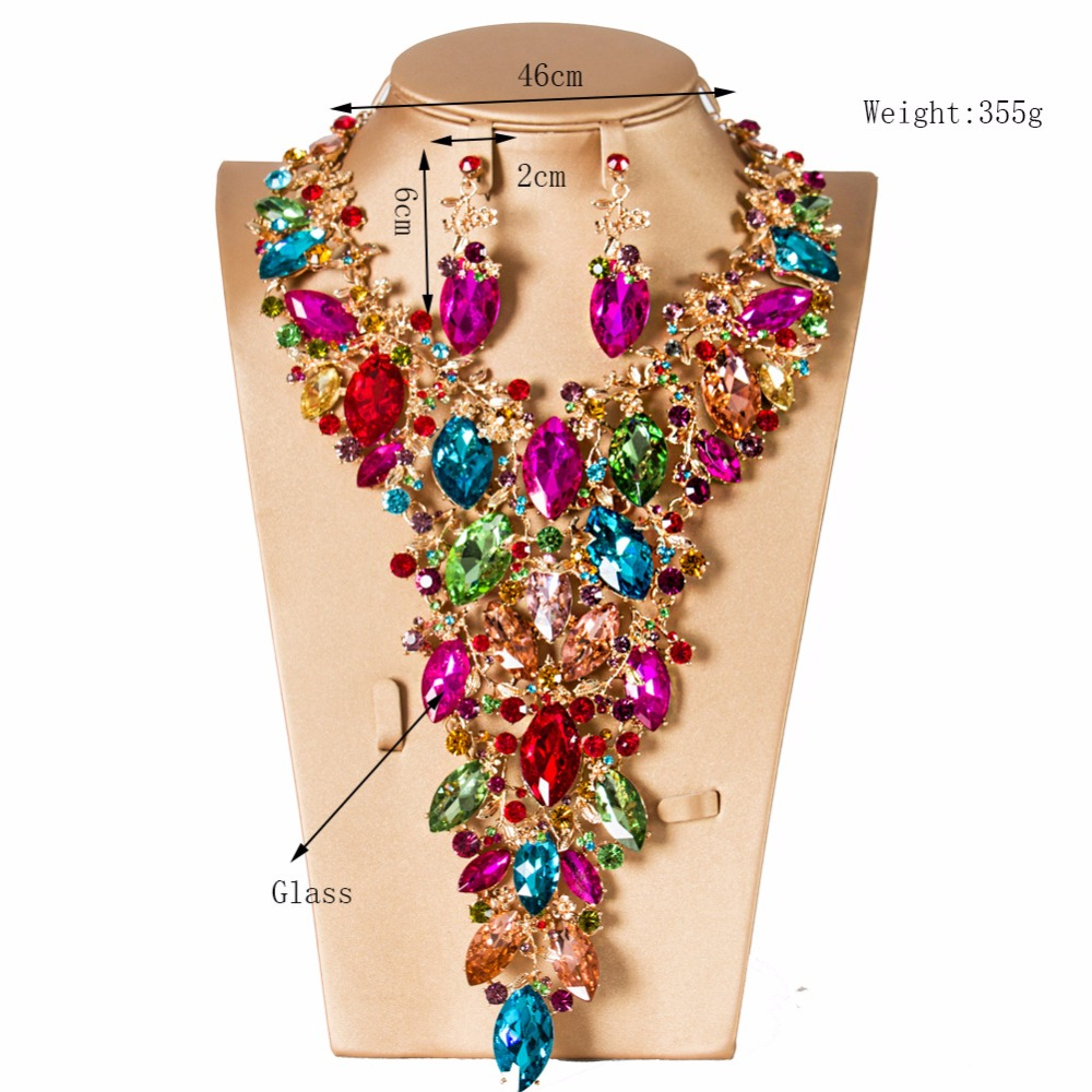 цена на Bridal Jewelry Sets Crystal Rhinestone Flower Rhinestone Wedding Gold Color Necklace and Earirngs Sets for Women Jewelry Sets