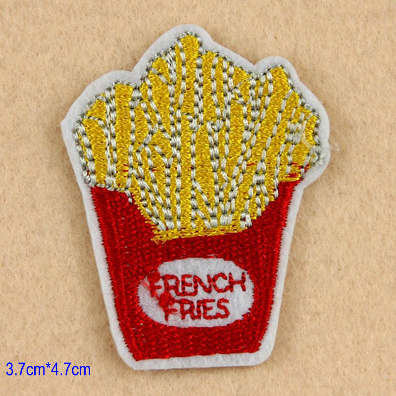 8 pcs set bordir patch hamburger kentang goreng doughnut susu jantung diy sticker untuk tas nanas topi pakaian patch f di tambalan dari rumah taman