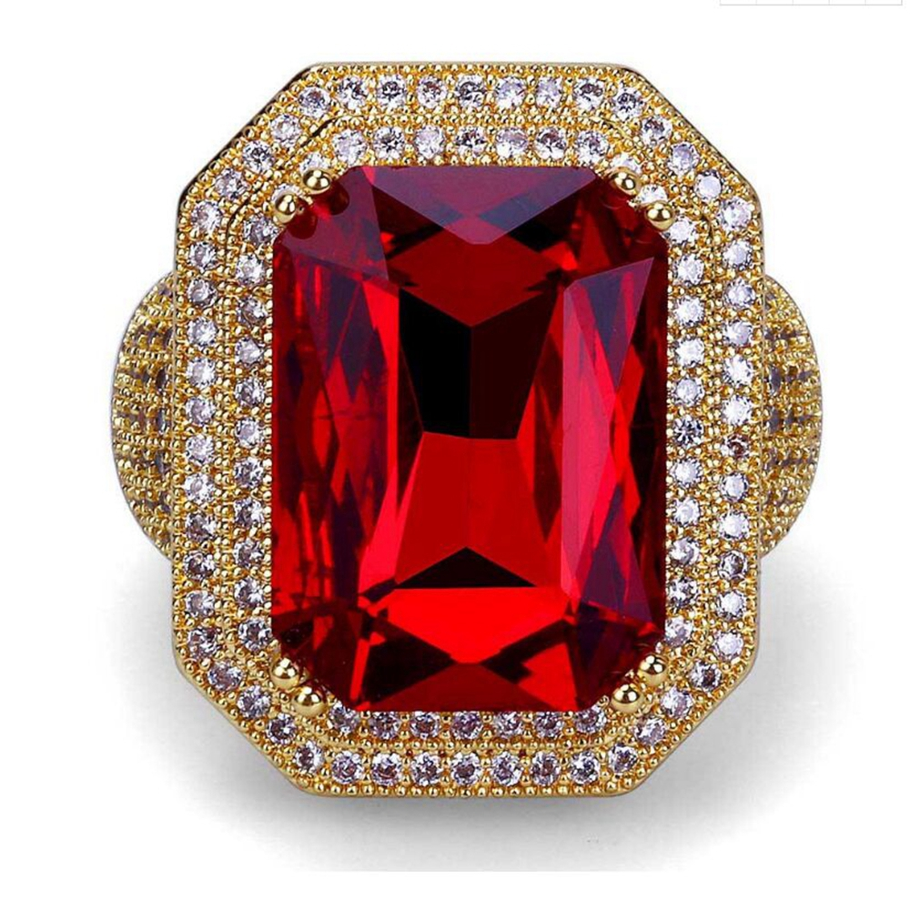 Best Quality Gold Color Big Red Stone Hip Hop Men Ring Famous All Iced Out Micro Pave Ring Punk Rap Jewelry Size 7-11 punk style pure color hollow out ring for women