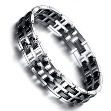Bracelet Mens Magnetic Health Care Jewelry Fashion Tungsten Bracelet Black Silver KR7912