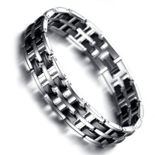 Bracelet Mens Magnetic Health Care Jewelry Fashion Tungsten Bracelet, Black, Silver KR7912