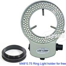 화이트 조정 가능한 6500K 144 LED 링 조명 조명 램프 산업 스테레오 현미경 카메라 돋보기 AC 110V 240V 어댑터