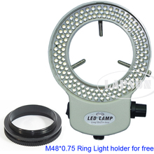 Blanco ajustable 6500K 144 Anillo de luz LED iluminador lámpara para la industria microscopio estéreo Cámara lupa AC 110V 240V adaptador