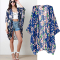 Olrain Women's Blue Floral Print Cape Sheer Chiffon Loose Kimono Cardigan Coat Blouse
