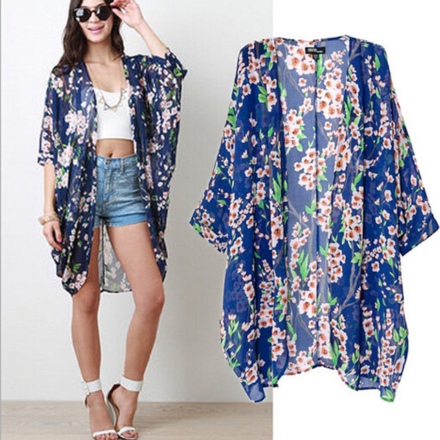cfa2e4cc3 Olrain Women's Blue Floral Print Cape Sheer Chiffon Loose Kimono Cardigan  Coat Blouse