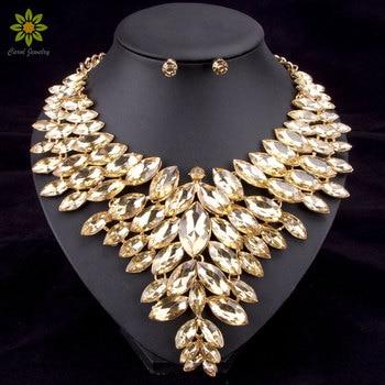 94cdd99d4d83 6 colores grano africano Juegos de joyería collar de la boda joyería para mujer  oro color cristal collar y Pendientes