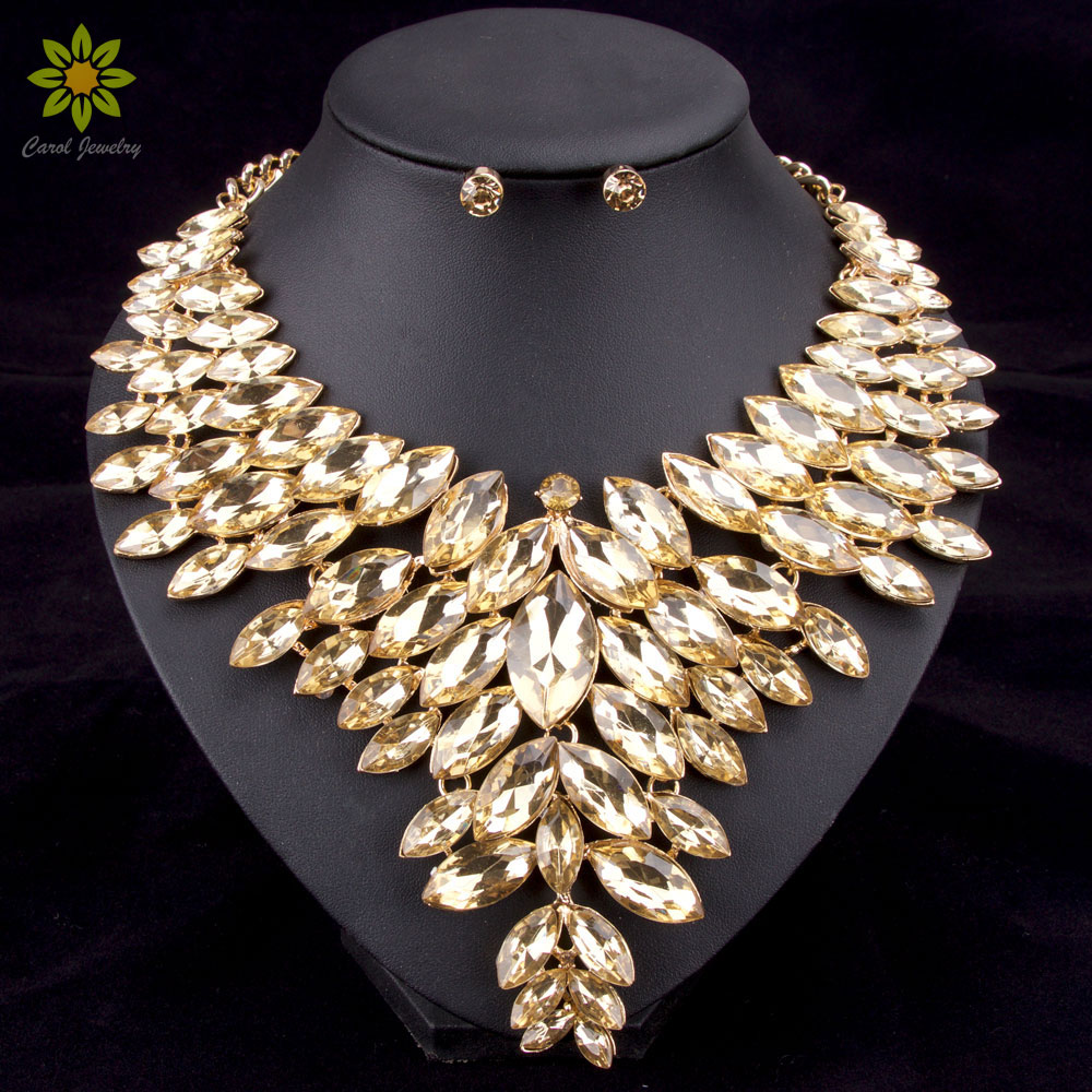 6Colors African Bead Jewelry Sets Wedding Necklace Womens Jewellery Set Gold Color Crystal Necklace And Earrings