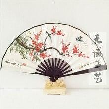 8 дюймов 10 дюймов большой бамбуковый складной сценический реквизит вентилятор мужские шелковые веера для свадебного украшения китайский веер живопись ремесла подарок