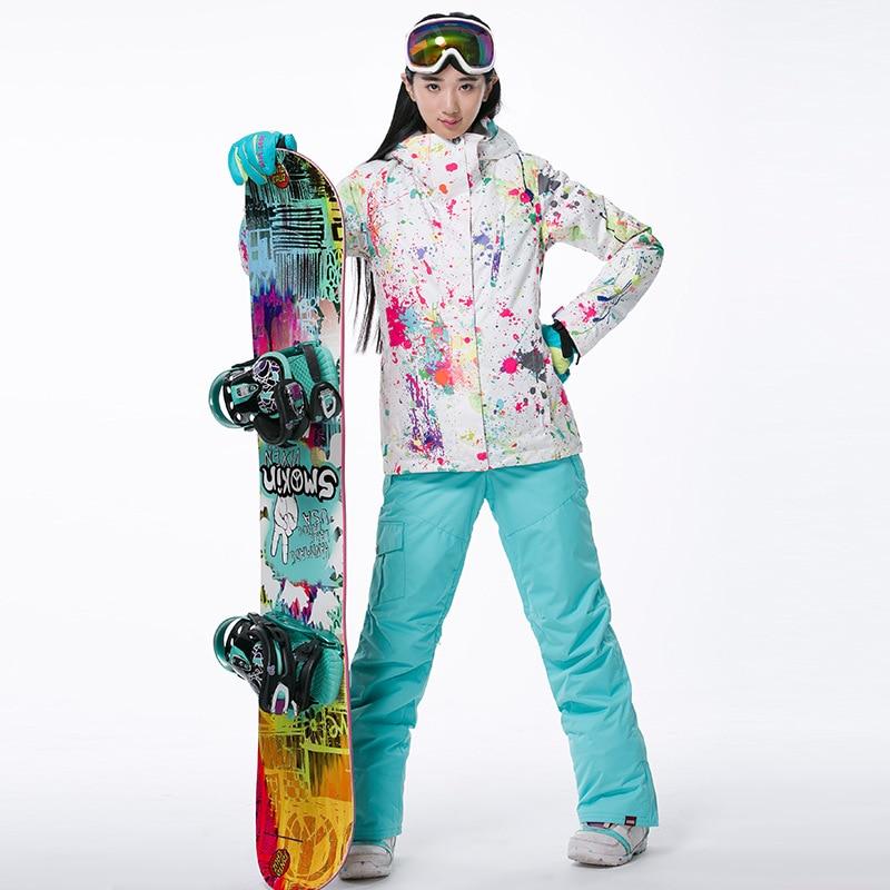 Prix pour Professionnel Femme Sports de Plein Air Imperméable et Respirante Coupe-Vent À Capuche Neige Costumes Dame Thermique Snowboard Ski Veste + Pantalon