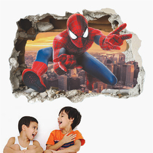 home decoration 3D wall stickers Spiderman breaks into the for kids rooms room