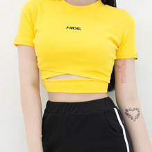 Harajuku Yellow Crop Top 2018 Summer Wrap Strap Waist Cropped T Shirt Women HIDE Letter Embroidery Tees Short Sleeve T-Shirts