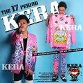 Calças jaqueta Blazer ajustado masculino DJ cantor rosa roupas irregulares costura jaqueta traje masculino para o dançarino boate estrela