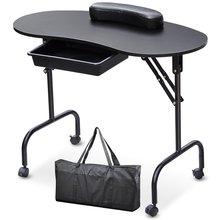 29%, портативный Маникюрный Стол для дизайна ногтей, стол, Спа салон красоты, оборудование для ногтей, складной стол для ногтей, черный, белый