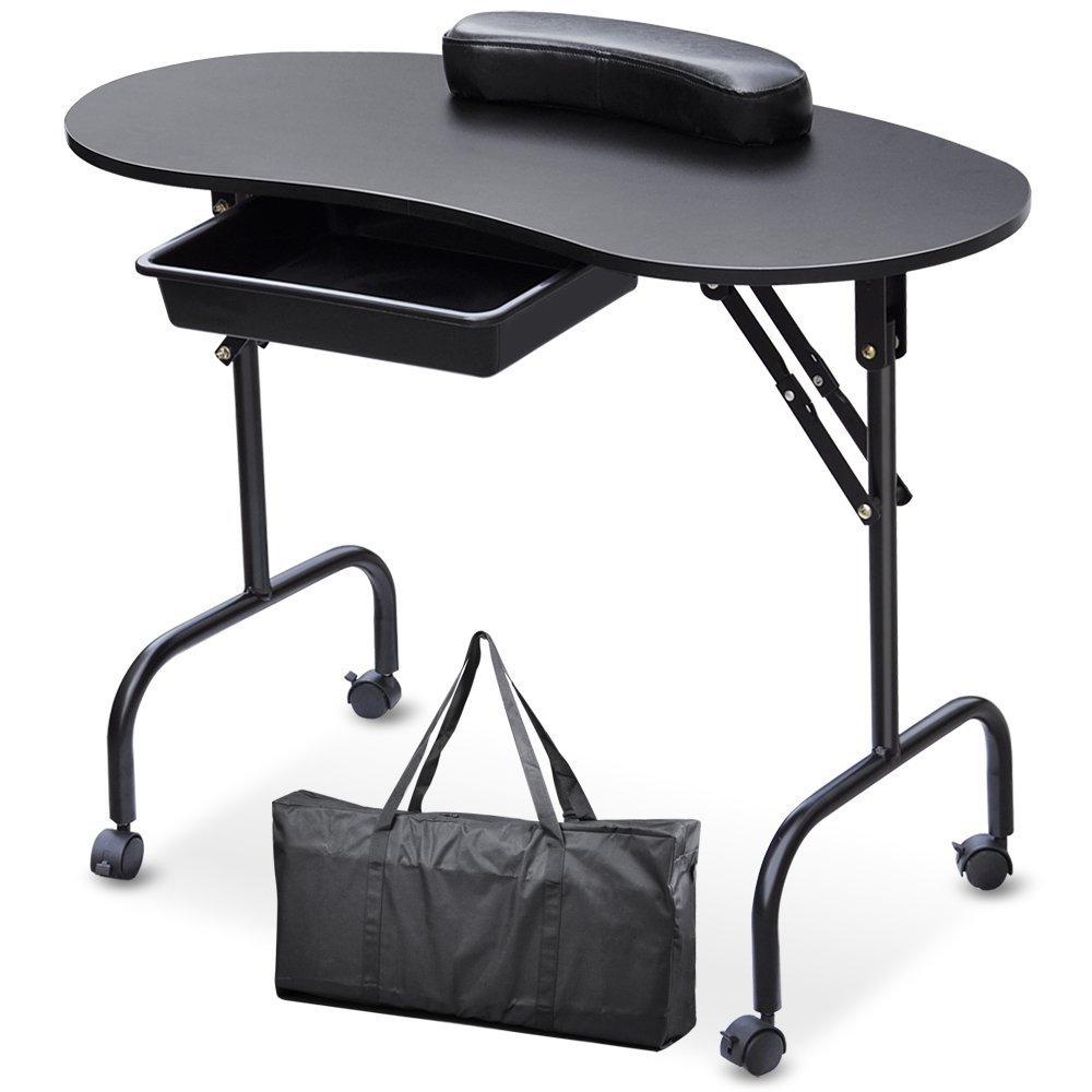 29%,Portable Manicure Nail Art Table Station Desk Spa Beauty Salon Equipment For Nails Foldable Nail Table Black White