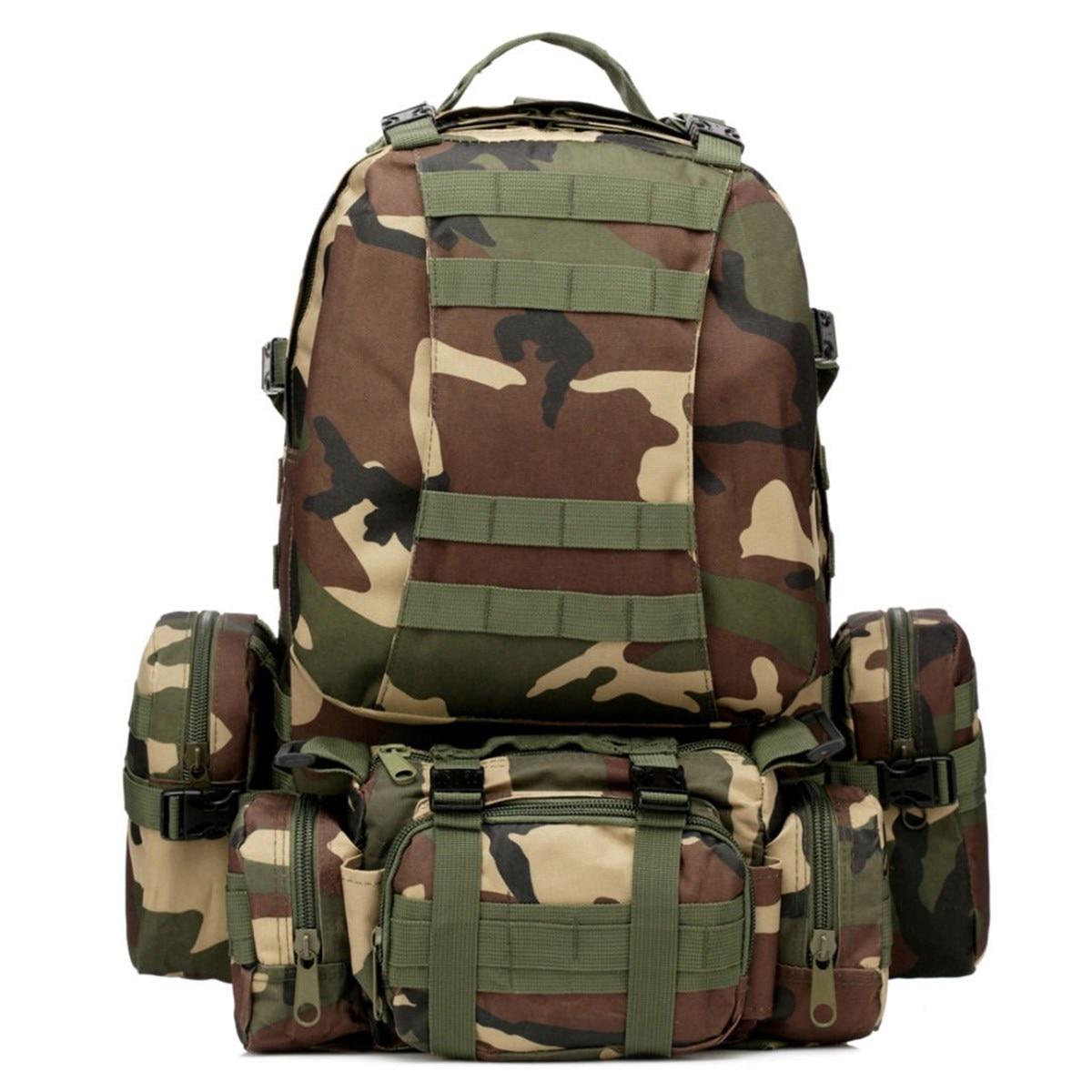 55L extérieur camo 4 en 1 Molle 600D militaire tactique sac à dos Camping randonnée chasse escalade sac à dos alpinisme hommes sacs