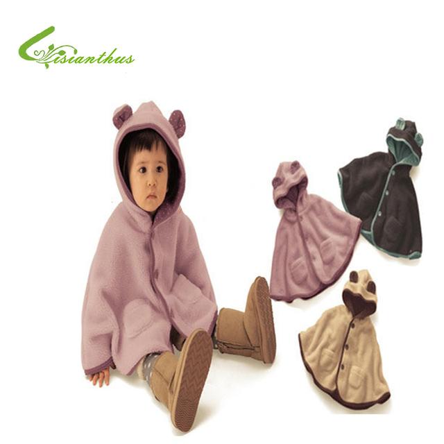 Capote del bebé Lindo Lunares Forro Manto Bebé Niños Niñas Primavera Otoño Ropa Niños Fleece Sudaderas Con Capucha Outwear Chaqueta de La Capa Del Cabo