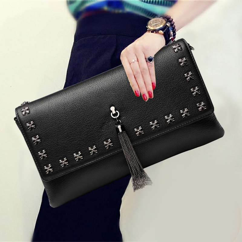 Fashion Solid Color Tassel Clutch Wallet Top Leather Envelope Purse Modern Women Chain Crossbody Shoulder Bags for Birthday Gift m12 aviation plug 8pins stragiht female or male plugs sensor connector socket connectors