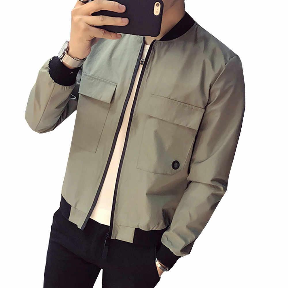 380f571669b Летние однотонные куртки Для мужчин корейские облегающие передний карман  дизайн тонкая куртка из ткани с защитой