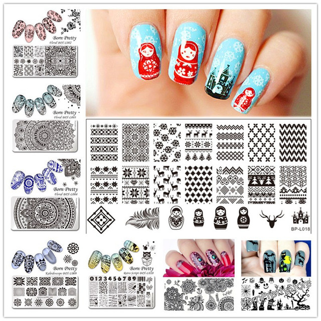BORN PRETTY Rectangle Nail Art Stamp Template Russian Doll Sweater ...