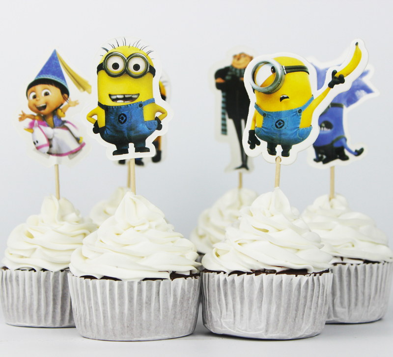 72pcs Event Party Supplies Cupcake Toppers Picks Despicable Me Wedding Decoration Girl Kids Birthday Party Decoration In Cake Decorating Supplies From