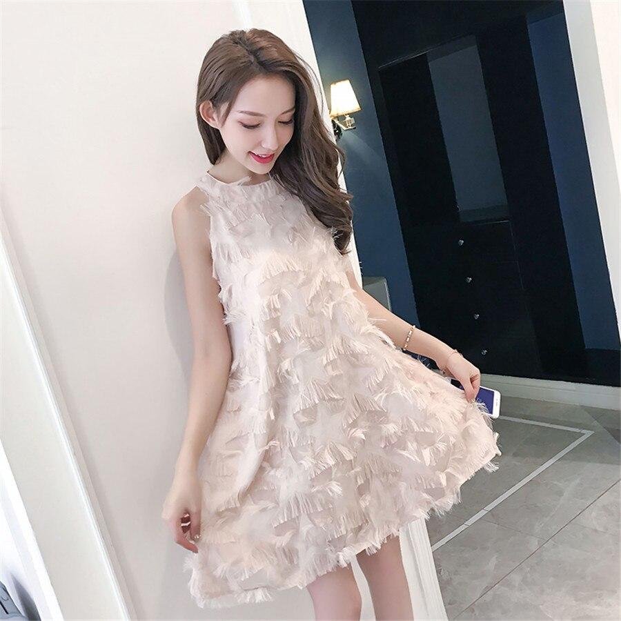 Nouveau femmes Tulle gland robe plissée plume Applique robe Sexy fête Vestido De Festa femme vêtements une ligne robes décontractées