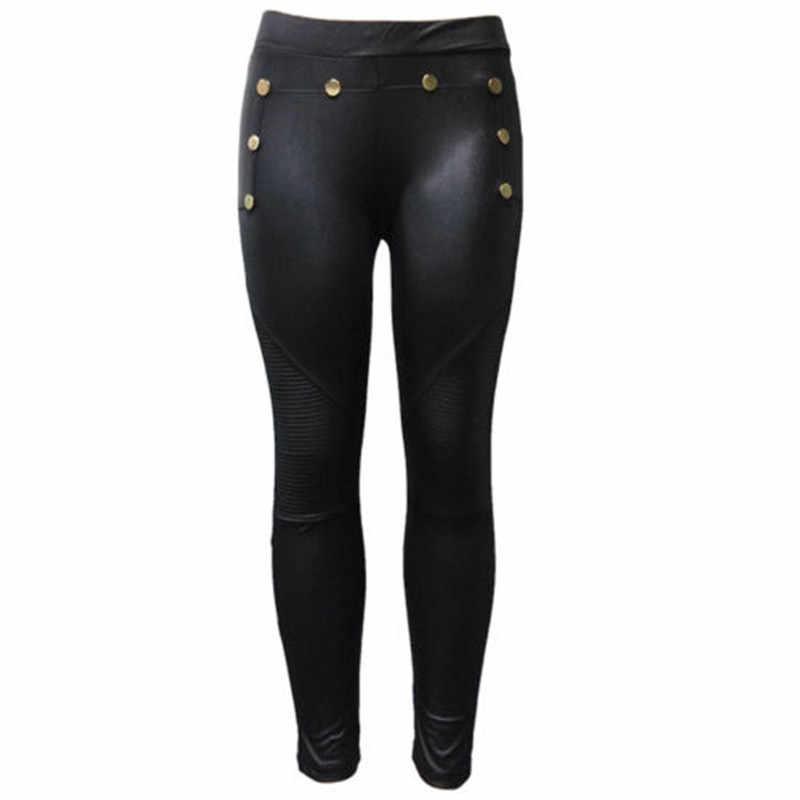 MeiHuIDa 2018 Nieuwe Stijl Mode vrouwen Skinny Faux Leather Stretch Solid Lange Broek Broek Zwart