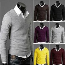 High Quality Casual Sweater Men Pullovers 2016 Brand Knitting long sleeve V-neck Knitwear Sweaters Plus size XXL