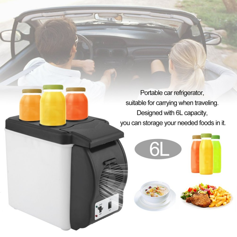 Portable 6L Capacity Car Truck Travel Household Refrigerator Small Multi-Function Fridge Warmer Cooler Freezer smad 24l 12v portable car mini fridge truck refrigerator 110v office dorm food warmer cooler box high quality camping fridge