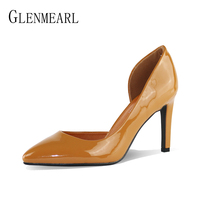 Brand High Heels Women Shoes Patent Leather Pumps Two Piece Pointed Toe Thin Heels Women Royal