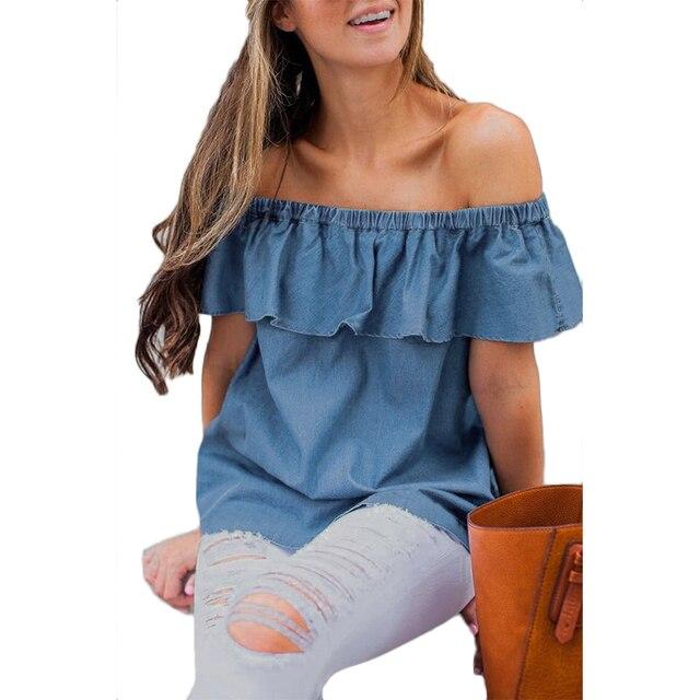 la vaquera mangas manera calientes camisa mujeres de casual Camisa sin Niñas volantes hombro suelta 2017 w1AZtRxqzZ