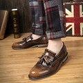 Кисточкой Кожаные Ботинки Дышащая Натуральная Кожа Мужчины Обувь Повседневная Винтаж Высокое Качество
