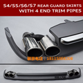Sline S3 S4 S5 S6 S7 Car Rear Bumper Lower Guard Spoiler Skirts S line RS Chrome 4 Diffuser End Pipes For Audi A3 A4L A5 A6 A7
