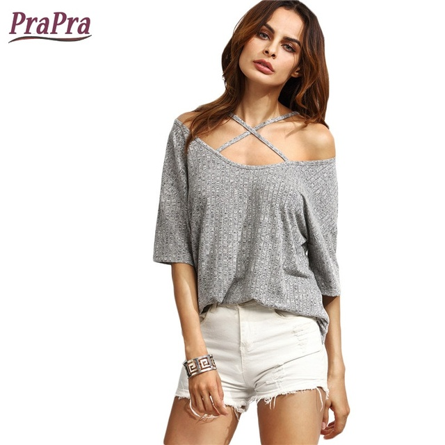 b0347cc4beb 2017 Summer Women Half Sleeve Tank top Grey Female Ribbed Crisscross Casual  Cold Shoulder T-shirt for Ladies Sexy Tees Top