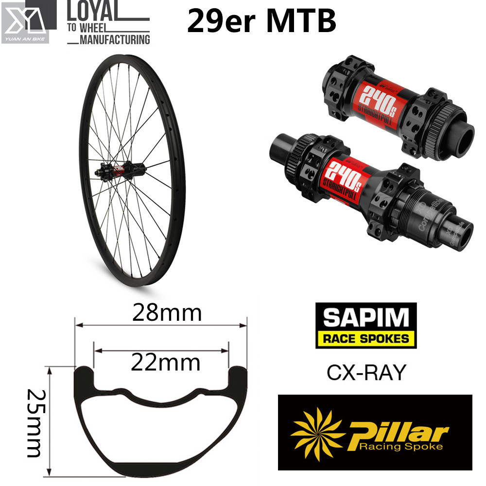 High-End 29er Carbon Mountain Bike Wheel DT Swiss 240 Hub Sapim CX Ray Spoke XC MTB Wheelset Tubeless QR Or Boost Available
