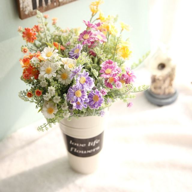1pcs Artificial Daisy Flower Bouquet Simulation Plants Fake Flowers ...