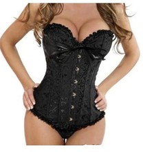 Sexy Corset Women Bone Black Lace Bustier Corset+G string Set Lingerie Free Shipping   WL3015