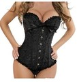 Sexy Corset mujeres hueso negro Lace Bustier Corset + G string Set Lingerie envío gratis WL3015